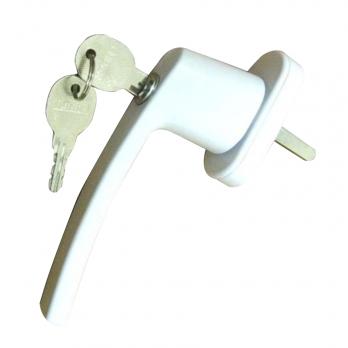 Ручка оконная металлическая с ключом белая